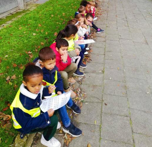 De kleutertjes van Het Pieterke zitten op de stoep met blaadjes in de hand. Ze tellen het verkeer.
