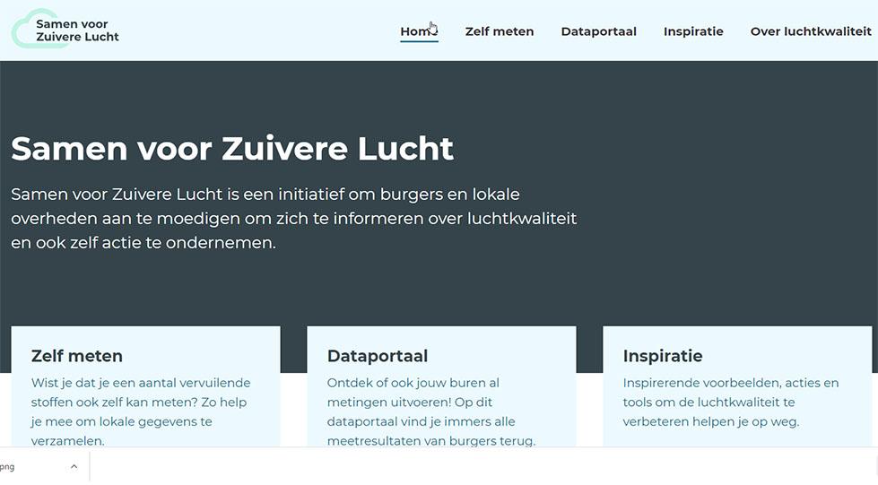 screenshot website samen voor zuivere lucht